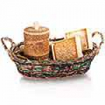 Подарочный набор в корзине (мёд в туеске + сотовый мёд)